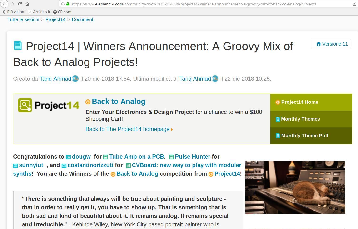 Back to Analog: CVBoard vince il concorso